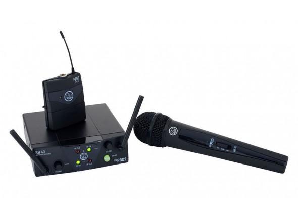 Sistema sem fios com microfone de mão/Sistema sem fios com microfone de mão AKG WMS40 Mini Dual Vocal/Instrumental