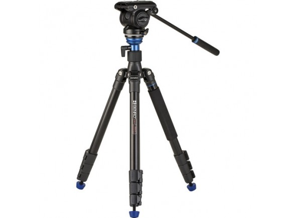 Tripé para máquina fotográfica e de filmar/Suportes e tripés Benro A2883F Reverse-Folding Aluminum Travel Tripod with S4Pro Fluid Video Head