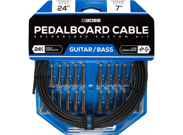 Cabo para pedais de efeitos/Fichas Jack de 6.3mm (macho e fêmea) BOSS BCK-24 Solderless Pedalboard Cable Kit 7m