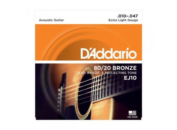 Jogo de cordas .010/Jogo de cordas .010 D'ADDARIO Jogo Cordas Bronze Guitarra Acústica  EJ10 .010-.047