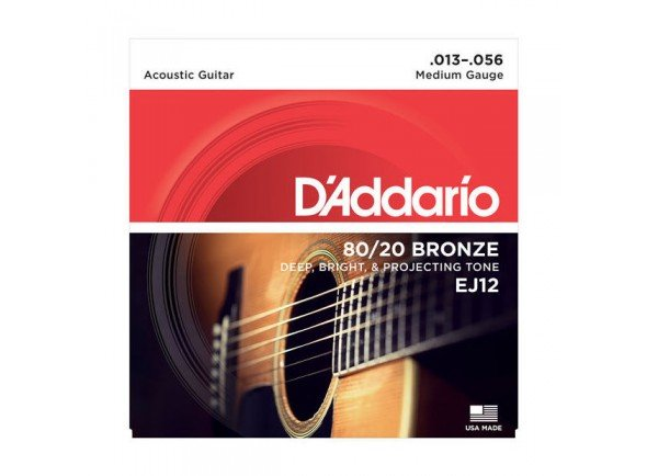 Jogo de cordas .013/Jogo de cordas .013 D´Addario Jogo Cordas Guitarra Acústica Bronze Daddario EJ12 013-056