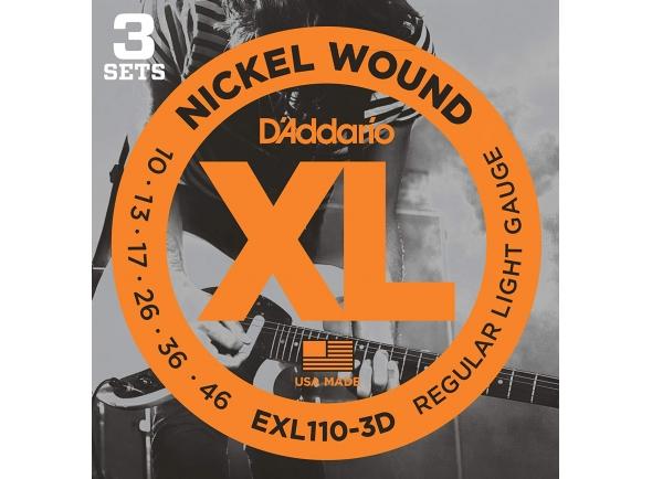 Conjunto de 3 jogos de cordas/Jogo de cordas .010 D´Addario EXL110-3D