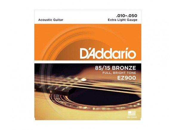 Jogo de cordas .010/Jogo de cordas .010 D´Addario Jogo Cordas Aço Bronze 010 Guitarra Acústica EZ900 .010-.050