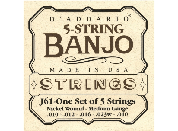 Jogos de cordas para banjo D´Addario J61 5 String Nickel Light 10-23