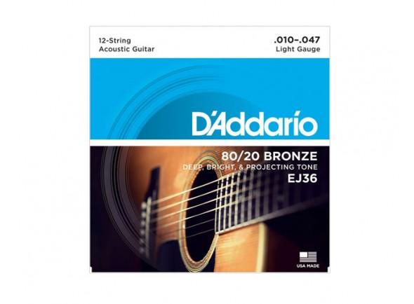 Jogo de cordas .010 D´Addario Jogo 12 Cordas Guitarra Acústica D'ADDARIO EJ36 .010-.047