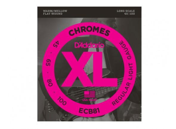 Jogos de cordas para baixo elétrico D´Addario Jogo de Cordas 045 Baixo Eléctrico 4 Cordas ECB81 Chromes