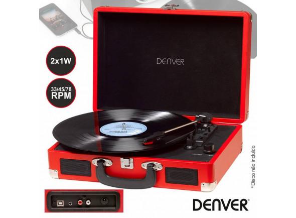 Gira-discos de alta fidelidade Denver  33/45/78rpm Vintage 2x1w Vermelho