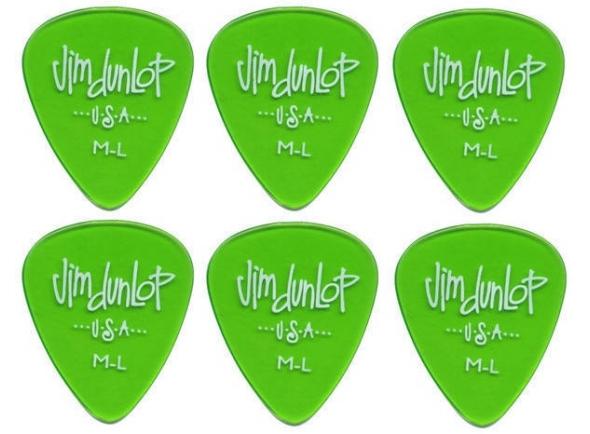 Palhetas para guitarra Dunlop 486R ML Gels Standard 6 Pack