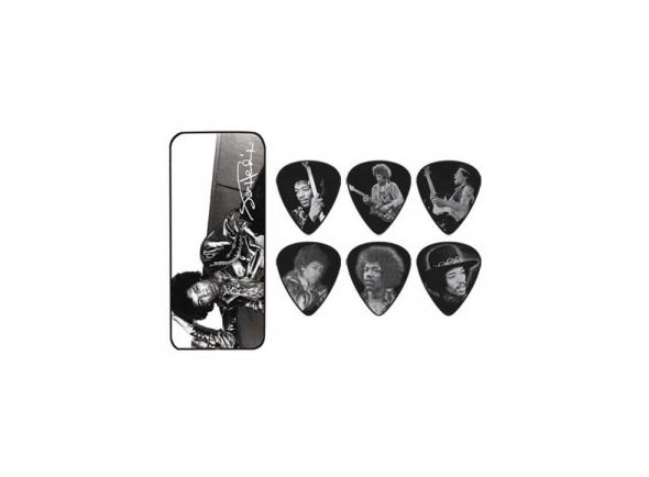 Palhetas para guitarra Dunlop Caixa de Metal com 12 Palhetas Jimi Hendrix  JHPT05H-2