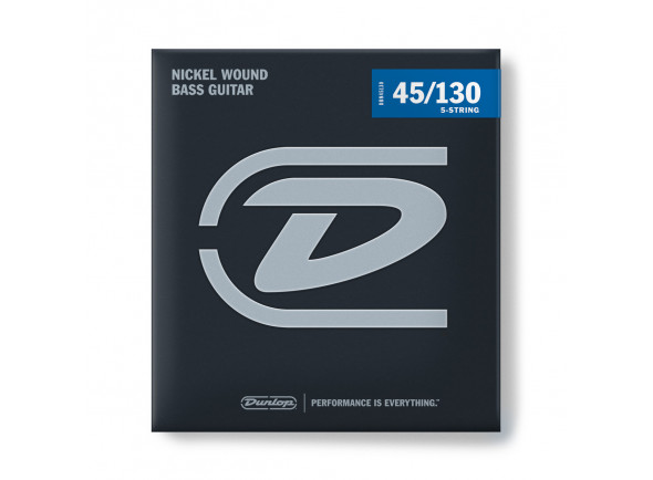 Jogo de cordas .045 para baixo elétrico de 4 cordas Dunlop Nickel Wound Bass Strings 45–130 5 Strings/Set