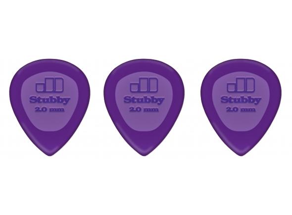 Palhetas para guitarra Dunlop Stubby 2.00 mm Lilás (3 Un)