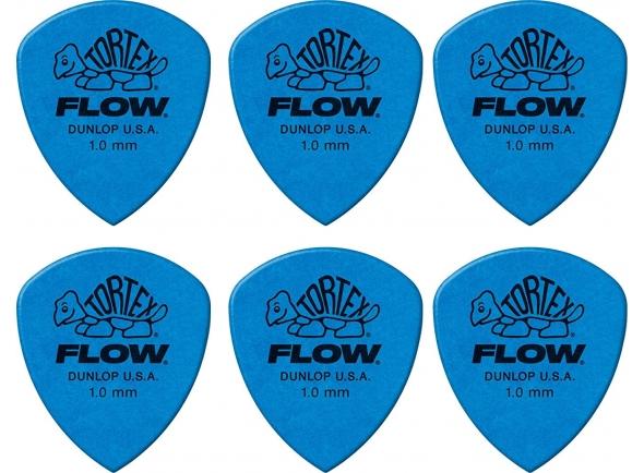 Palhetas para guitarra Dunlop Tortex Flow Blue 6 pack