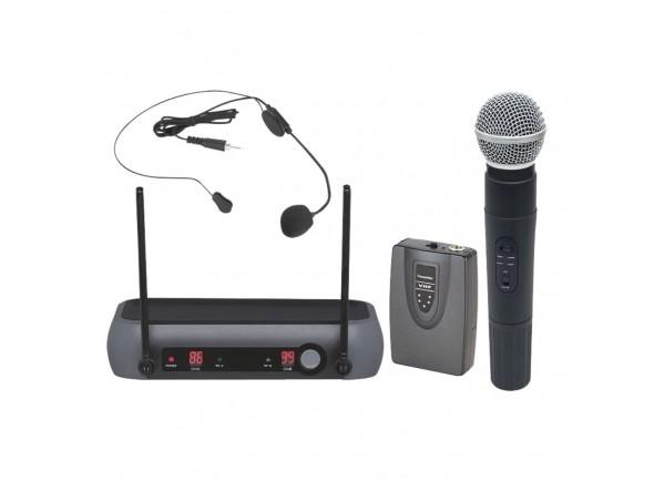 Central Microfone sem fios para 2 Canais/Sistema sem fios com microfone de mão Egitana Central Microfone S/ Fios 2 Canais Vhf 174/216mhz
