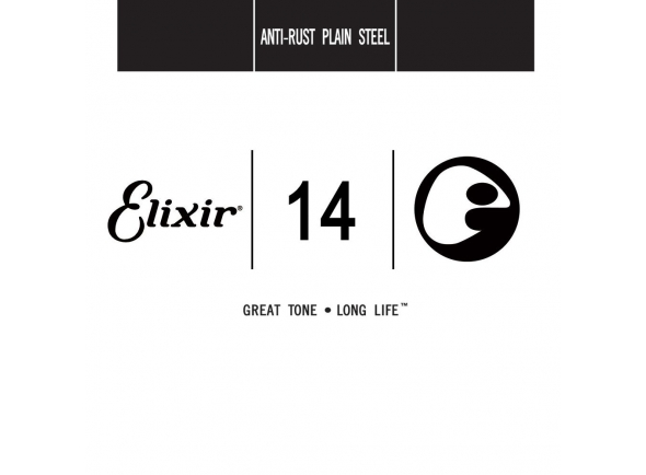Corda individual para guitarra elétrica e acústica/Cordas individuais para guitarra elétrica Elixir .014 Plain steel