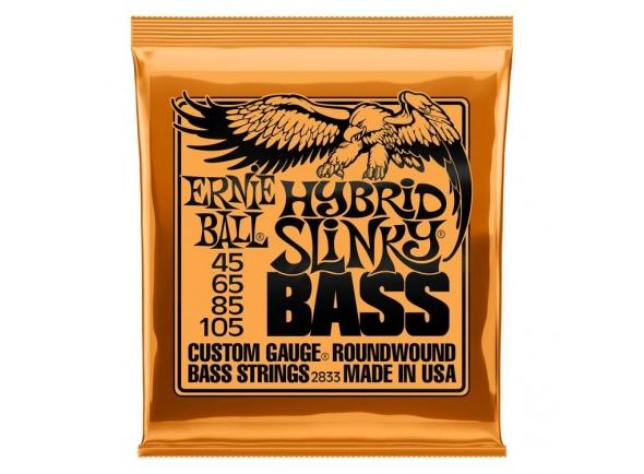 Jogo de cordas .045 para baixo elétrico de 4 cordas Ernie Ball 2833 Hybrid Slinky