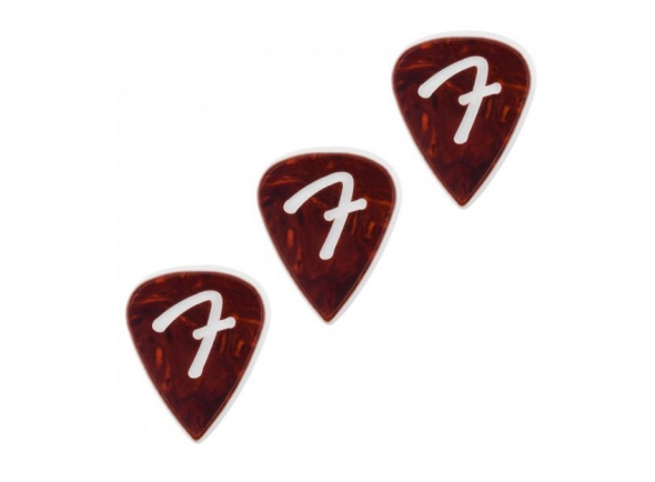 Palhetas para guitarra Fender 351 F Grip Shell Pick Set