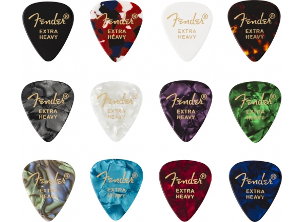 Palhetas para guitarra Fender 351 Shape Celluloid Medley Extra Heavy 12 Pack
