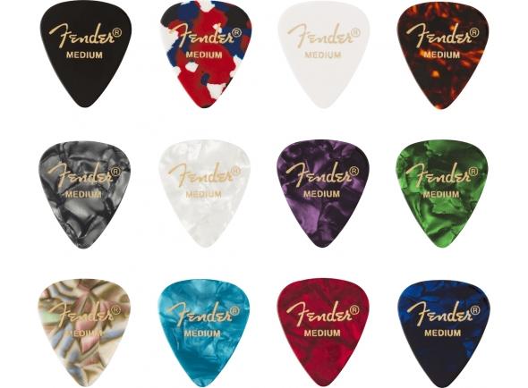 Palhetas para guitarra Fender 351 Shape Celluloid Medley Medium 12 Pack