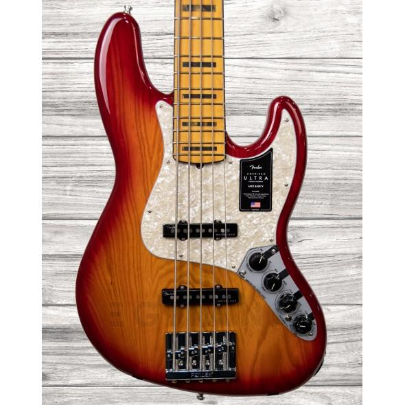 Baixo elétrico de 5 cordas/Baixo de 5 Cordas Fender American Ultra Jazz Bass V - Plasma Red Burst