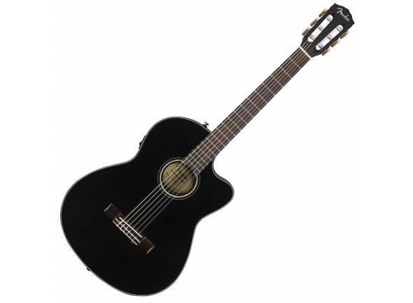Guitarra Clássica (adulto) 4/4 Fender CN-140SCE Black   Tampo em spruce maciço  Acabamento Brilho Preto  Inclui Estojo e Cordas