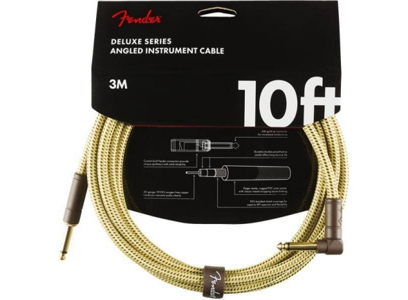 Cabo de instrumento/Cabo para Instrumento Fender Deluxe Instrument Cable, Straight/Angle, 10', Tweed