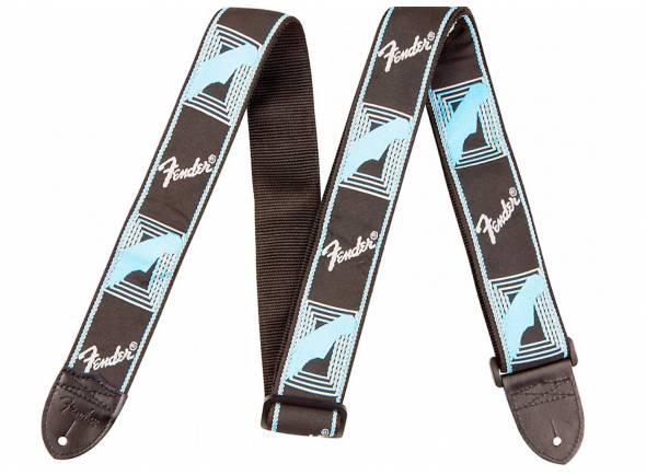 Correia de nylon/Correia de nylon Fender Monogrammed Strap, Black Light Blue Grey Blue