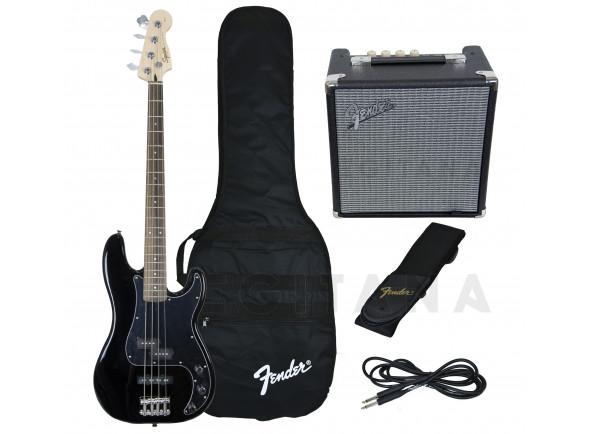 Baixo elétrico de 4 cordas/Pack's de Baixo Elétrico Fender Squier Affinity Precision PJ Bass Pack Black B-Stock