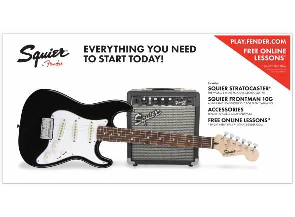 "Guitarra tipo ST Fender Squier Strat Pack SS Black   Squier Stratocaster Black  Amplificador Squier Frontman 10G  ""Fender Play"" - aulas online gratuitas"