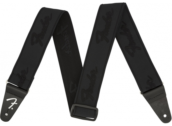 Correia de nylon Fender Weightless Running Logo Guitar Strap - Black/Black