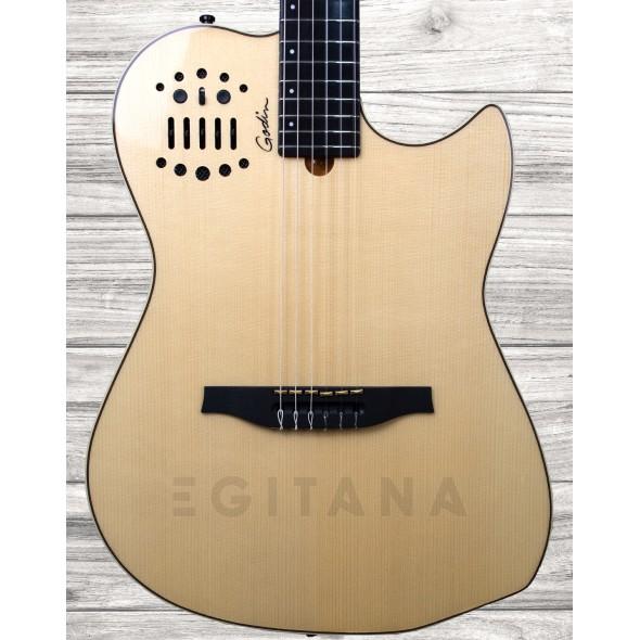 Guitarras clássicas eletrificadas Godin Multiac Nylon SA NT HG Natural com Brilho