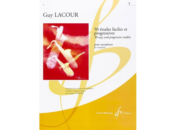 Método para aprendizagem/Livros de saxofone Guy Lacour 50 Estudos Fáceis e Pogressivos para Saxofone