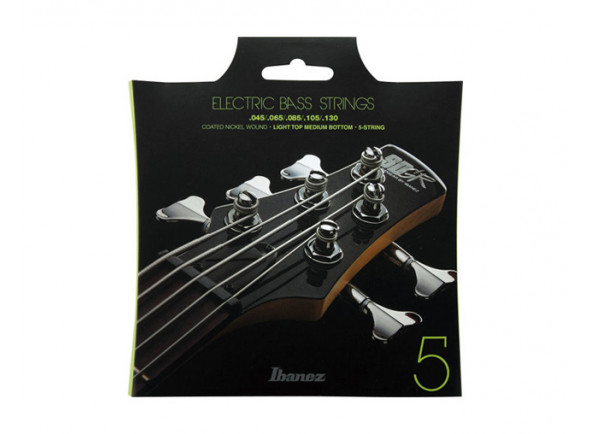 Jogo de Cordas para Baixo de 5 Cordas/Jogo de cordas .045 para baixo elétrico de 5 cordas Ibanez  IEBS5C E-Bass String Set 045