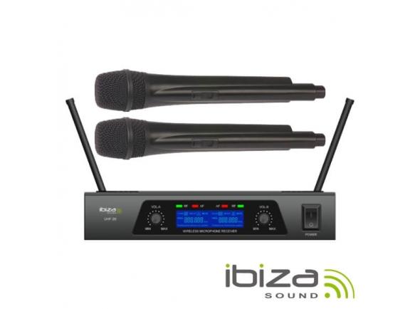Sistema sem fios com microfone de mão Ibiza Central de Microfones UHF s/ fios c/ 2 Canais