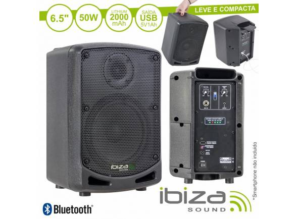 Sistemas Portáteis com Bateria Ibiza Coluna POWER5-BT