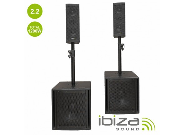 Colunas Bi-amplificadas/Colunas Amplificadas Ibiza Conjunto Som Bi-Amplificado USB/SD/BT
