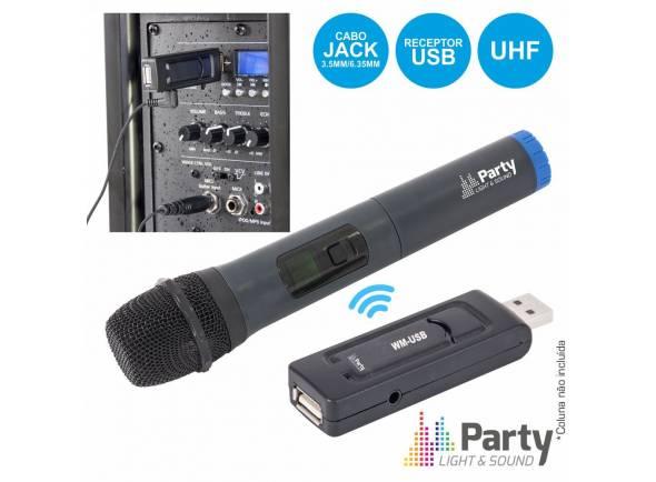 Microfone sem fios/Sistema sem fios com microfone de mão Party Light & Sound WM-USB