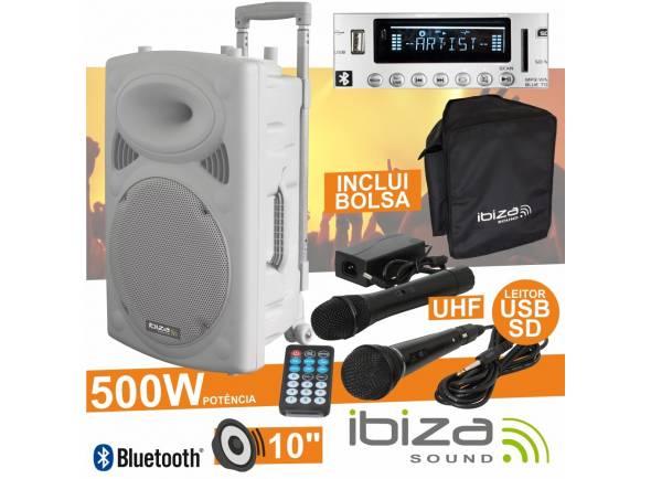 Colunas Amplificadas/Sistemas Portáteis com Bateria Ibiza PORT10UHF-BT WHITE