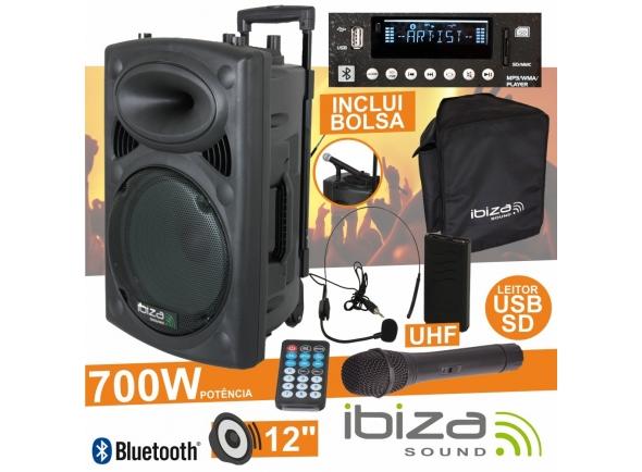 Colunas Amplificadas/Sistemas Portáteis com Bateria Ibiza PORT12UHF-BT B-Stock