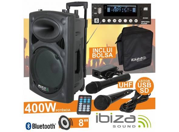 Colunas Amplificadas/Sistemas Portáteis com Bateria Ibiza PORT8UHF-BT