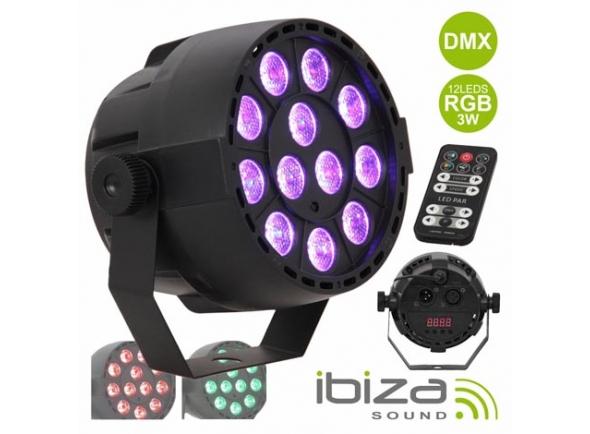 Projector LED PAR/Projector LED PAR Ibiza PROJETOR PAR C/ 12 LEDS RGB 3W ABS COMANDO MIC DMX