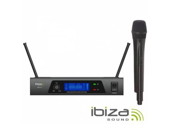 Microfone sem fios/Sistema sem fios com microfone de mão Ibiza UHF 10 MICROFONE S/FIOS 1 CANAL UHF