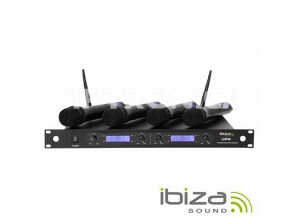 Microfone sem fios/Sistema sem fios com microfone de mão Ibiza UHF-40 Microfones sem Fio