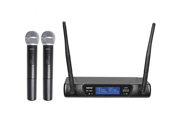 Sistema sem fios com microfone de mão Karma  (2 unid) +Receptor VHF 175/197MHz KM-SET6092A
