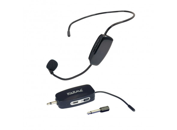 Sistema sem fio com microfone de cabeça Karma  Microfone Cabeça s/ Fios + Receptor UHF (ficha 3,5mm) KM-MASTER20