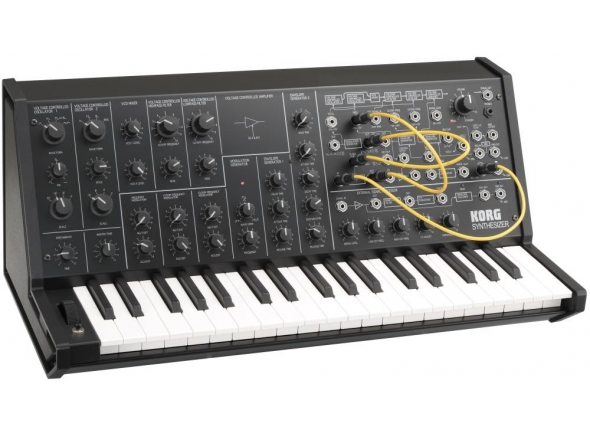 Korg MS-20 Mini  O sintetizador monofónico Korg MS-20, originalmente introduzido em 1978, é um instrumento de culto até os dias de hoje, graças ao seu som robusto e espesso e ao seu poderoso circuito de filtro analógico.