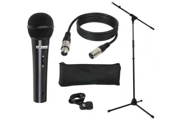Pack Microfone + Suporte  + Cachimbo/Microfone vocal LD Systems MIC SET 1