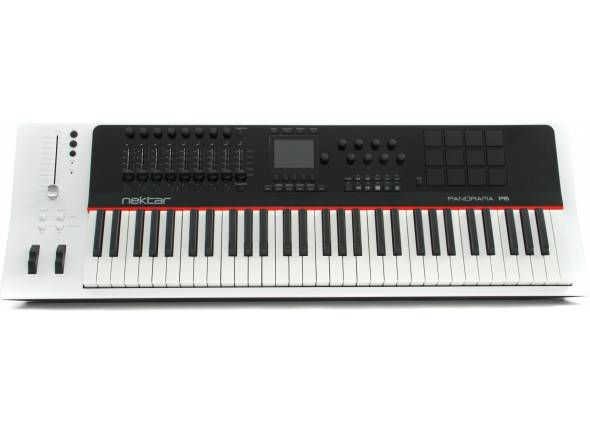 Teclados MIDI Controladores Nektar Panorama P6   61 Teclas sensíveis à velocidade semi-pesadas com after touch;  5 curvas de velocidade + fixas;  Botões oitava cima/baixo;