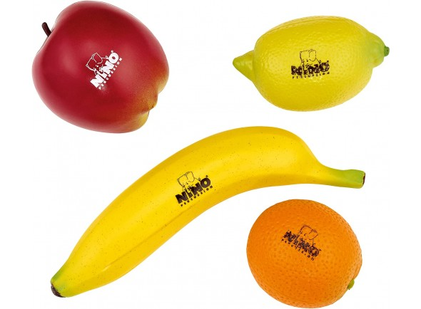 Conjunto de Shakers em forma de fruta/Shaker Nino Percussion ET100 assortment of 4pcs. fruit