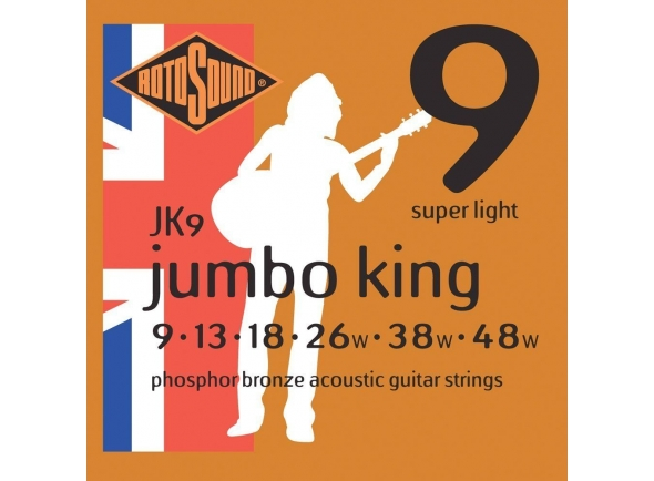 Jogo de cordas .009 Rotosound JK9 Jumbo King 9-48