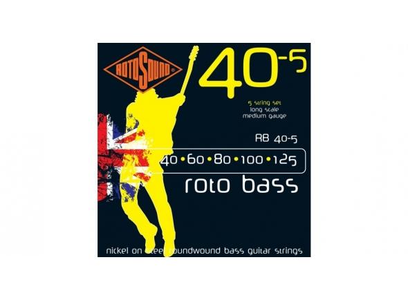 Jogo de cordas .040 para baixo elétrico de 5 cordas Rotosound RB40 Nickel 5-String Bass Guitar Strings, 40-125